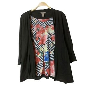 White Stag two piece top- floral top black Cardi
